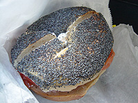 poppy bagel with salmon and cream cheese without onion