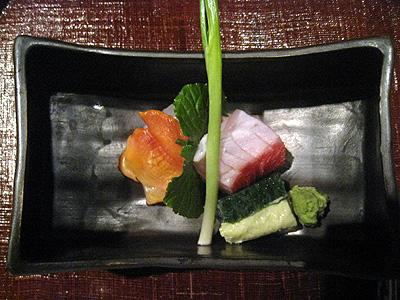 分とく山 金目鯛、赤貝、平目のお造り
